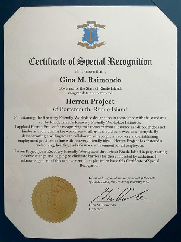 Rhode Island Certificate of Recognition