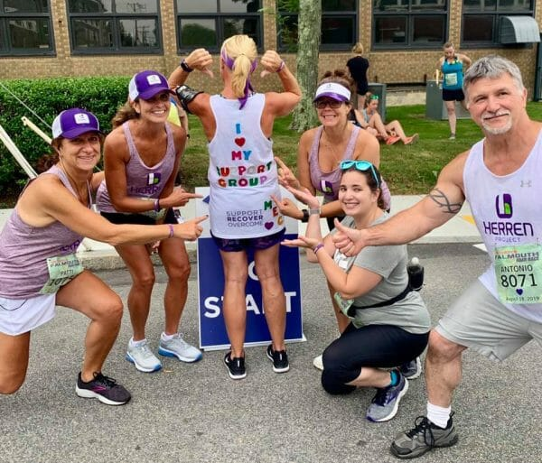team Herren Project running in the falmouth road race awarenss substance use disorder