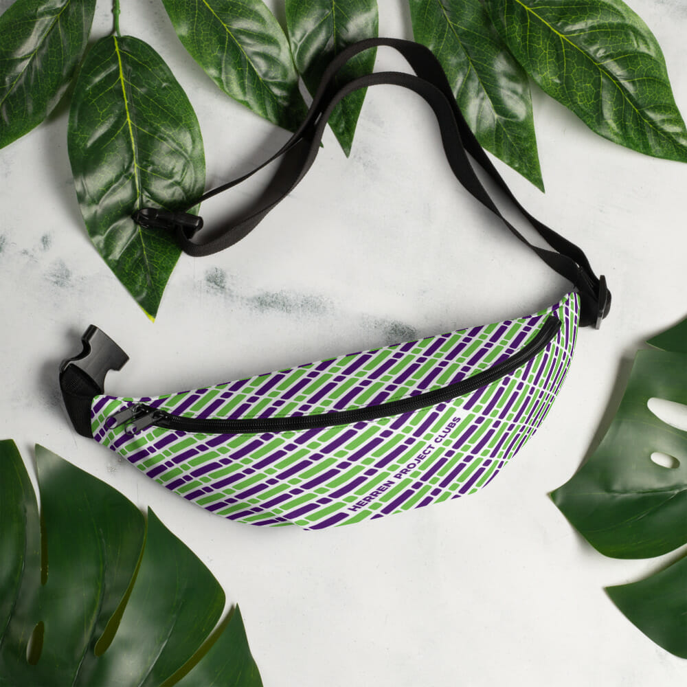hpc fannypack colors front 01 01 01 purple green pattern 01 hpc fannypack b mockup lifestyle 1 lifestyle white