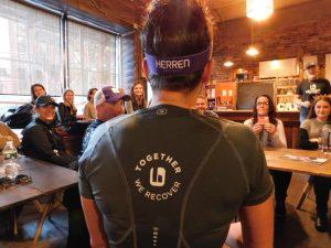 Pam Rickard raising awareness around the disease of addiction at NYC Marathon for Herren Project