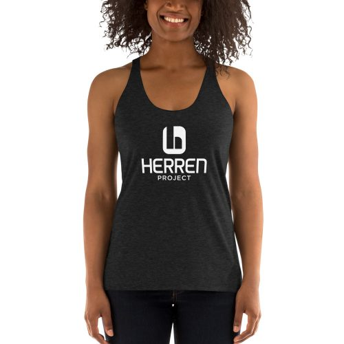 womens racerback tank charcoal black triblend front 60ed93273a110